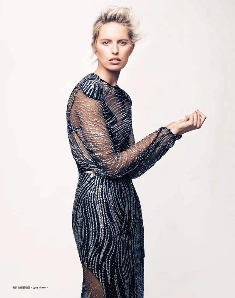 Karolina Kurkova Wears Elegant Looks in Harper's Bazaar Taiwan