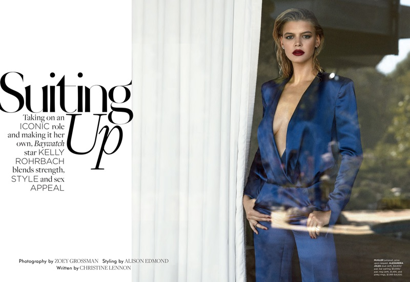 Model Kelly Rohrbach rocks blue Mugler jumpsuit