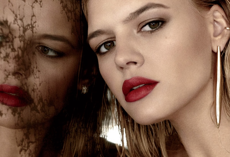 Kelly Rohrbach models red lipstick with Kendall Conrad ear cuff and Jennifer Fisher drop earring