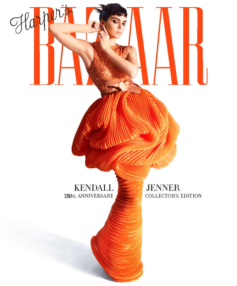Looking retro chic, Kendall Jenner models Armani Privé gown