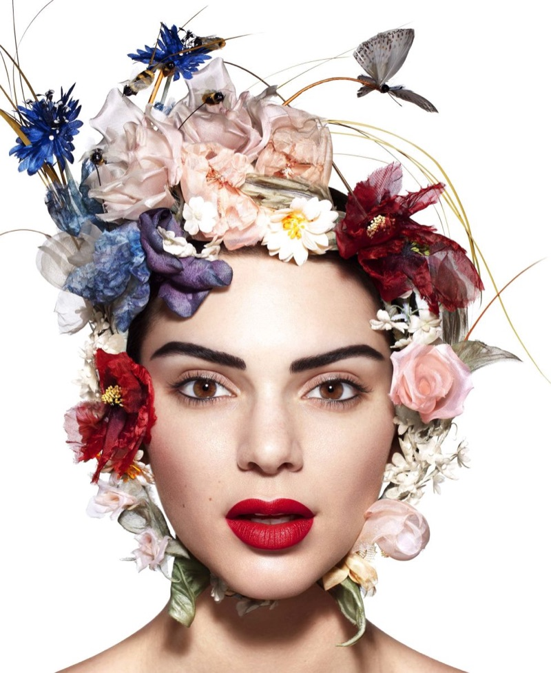 Model Kendall Jenner wears bold red lipstick shade