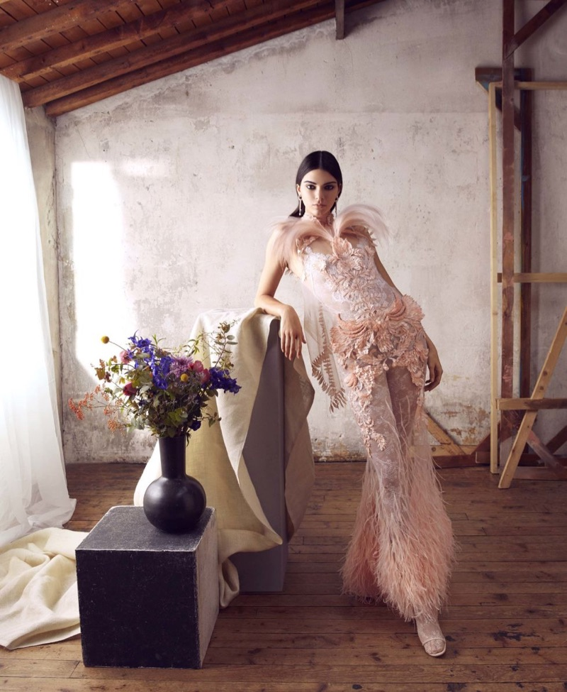Kendall Jenner strikes a pose in Givenchy Haute Couture gown with feathers
