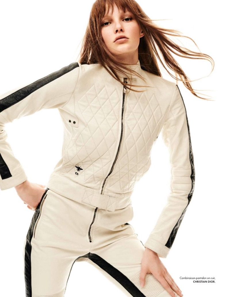 Getting sporty, Lilly-Marie Liegau models Dior leather jumpsuit