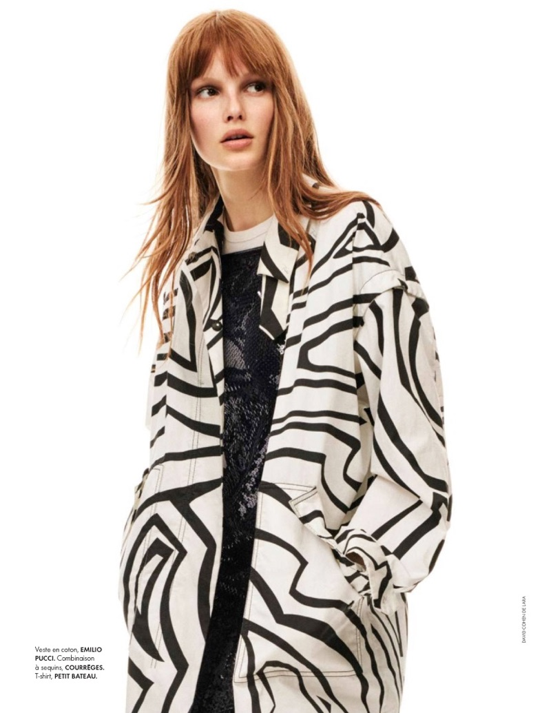 Lilly-Marie Liegau covers up in Emilio Pucci jacket with Courreges jumpsuit and Petit Bateau t-shirt