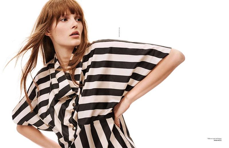 Embracing stripes, Lilly-Marie Liegau wears Nina Ricci dress