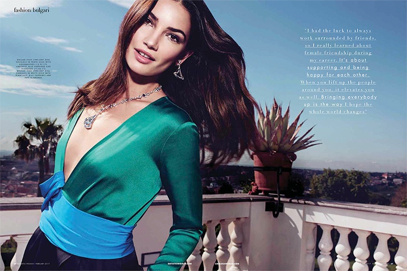 Lily Aldridge models Bulgari High Jewellery Diva necklace and earrings