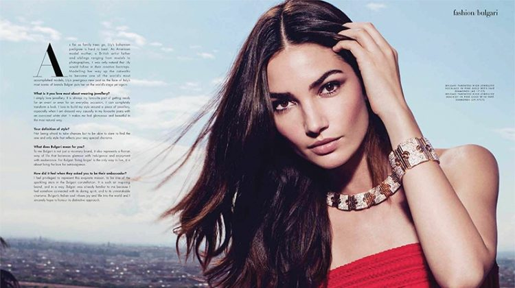 Standing out in red, Lily Aldridge poses with Bulgari Parentesi High Jewellery Necklace and Parentesi bracelet