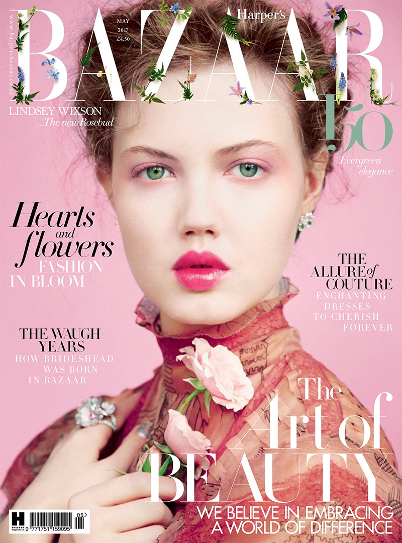 Lindsey Wixson on Harper's Bazaar UK May 2017 Cover