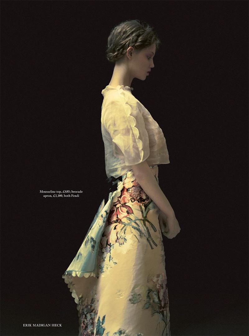 Lindsey Wixson models Fendi mousseline top and brocade apron