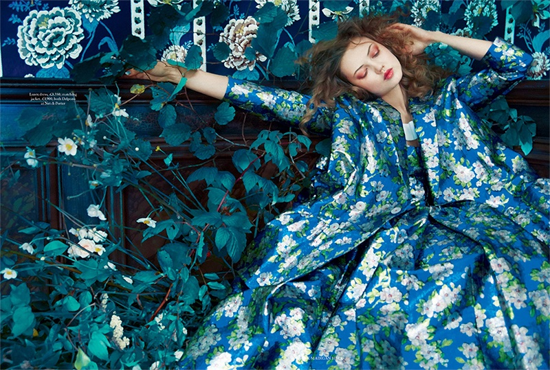 Embracing florals, Lindsey Wixson wears Delpozo dress and matching jacket