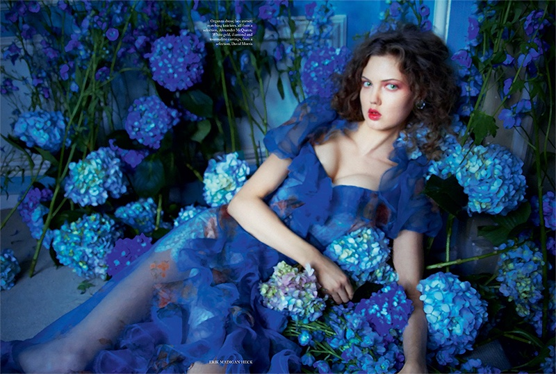 Looking true blue, Lindsey Wixson models Alexander McQueen organza dress and lace corset