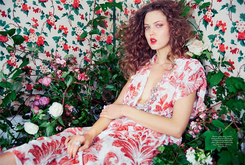 Lindsey Wixson lounges in Ermanno Scervino velvet dress