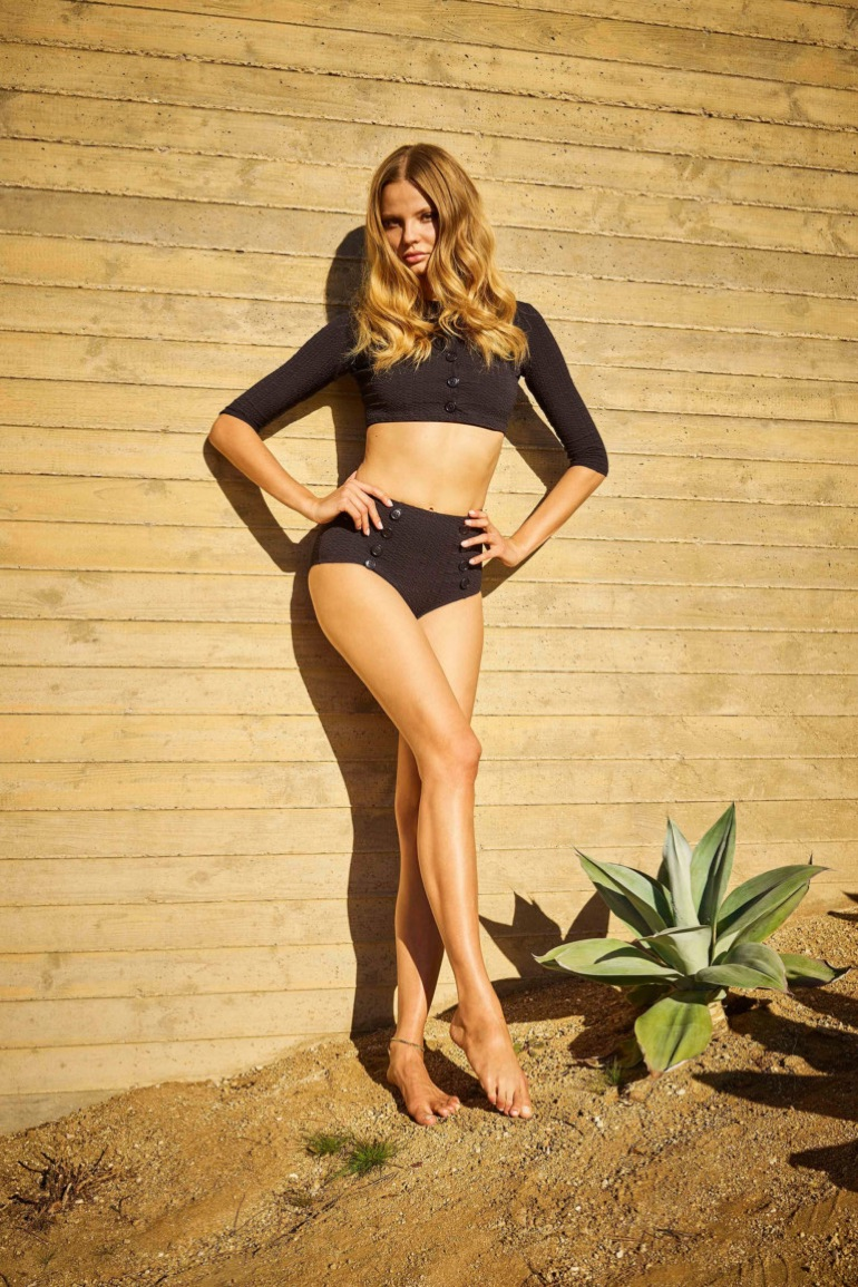 Genevieve black seersucker bikini twin set from Lisa Marie Fernandez's spring-summer 2017 collection
