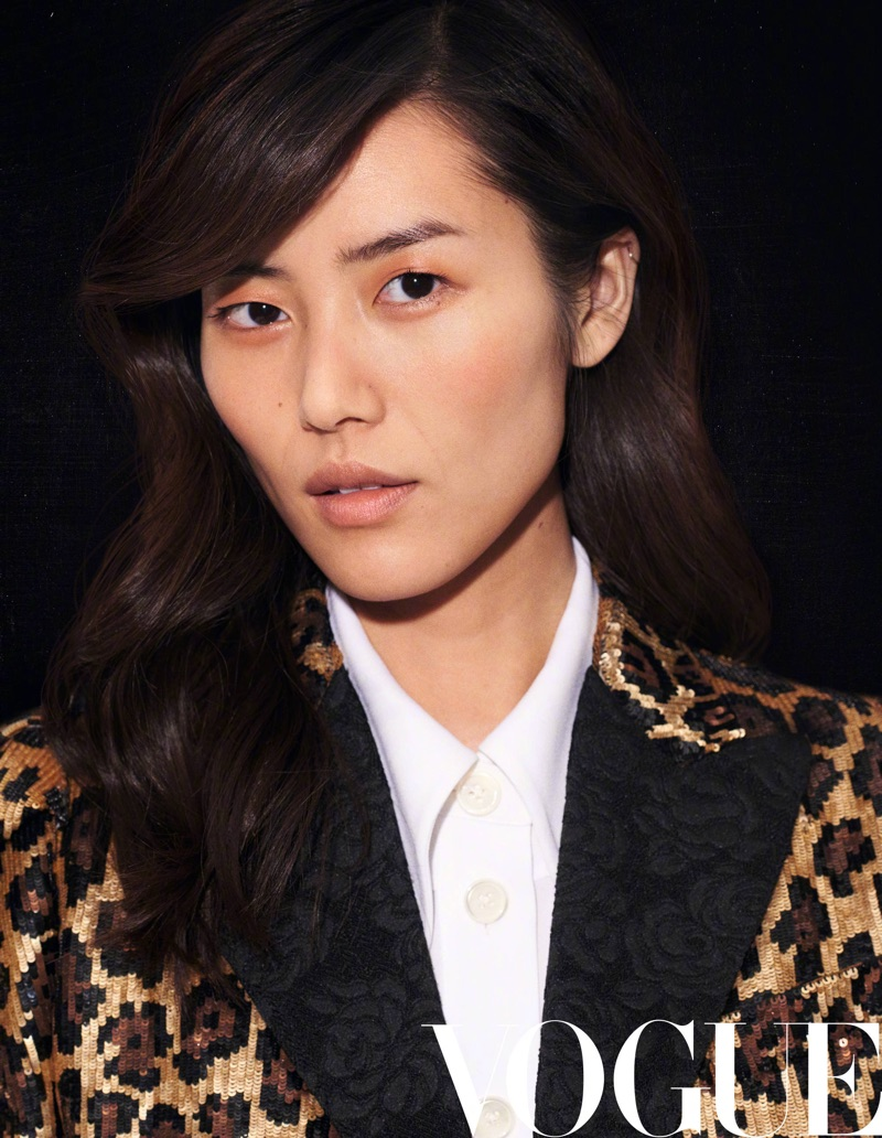 Getting her closeup, Liu Wen poses in sequined jacket