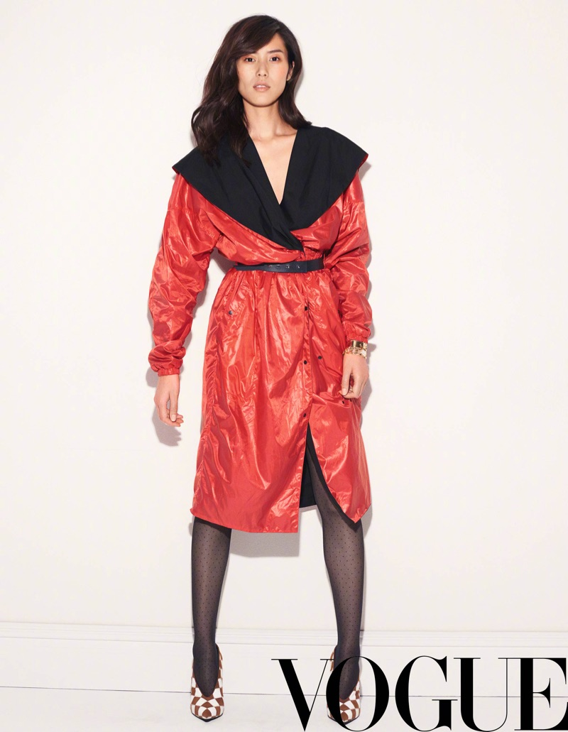 Channeling the 1980's, Liu Wen gets wrapped up in red coat