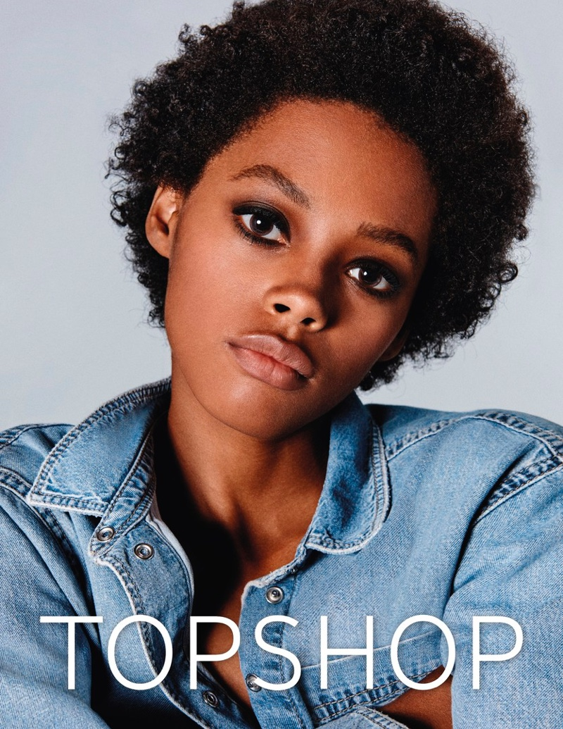 Londone Myers poses in Topshop Jeans' spring-summer 2017 campaign