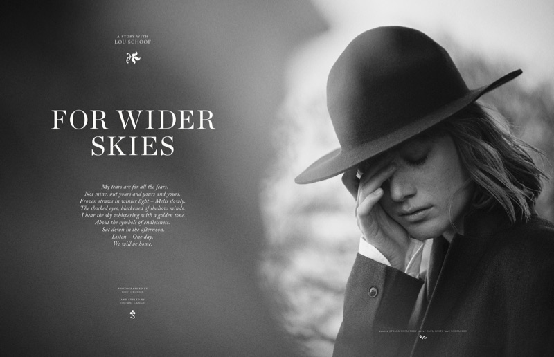 Photographed in black and white, Lou Schoof models Stella McCartney blazer, Paul Smith shirt and Borsalino hat