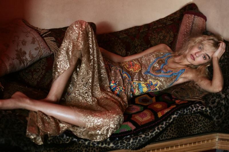 Glittering in gold, Maartje Verhoef models Peter Pilotto dress