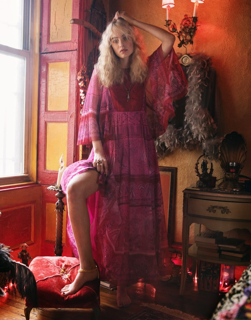 Embracing red and pink, Maartje Verhoef models Valentino maxi dress and Gucci necklace