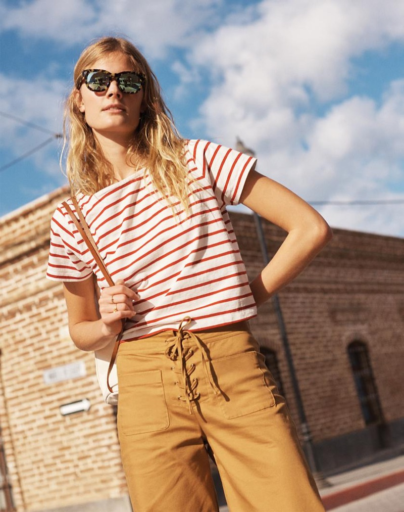 Madewell Setlist Boxy Tee in Murphy Stripe, Lace-Up Wide-Leg Crop Pants, Headliner Sunglasses and The Convertible Canvas Backpack