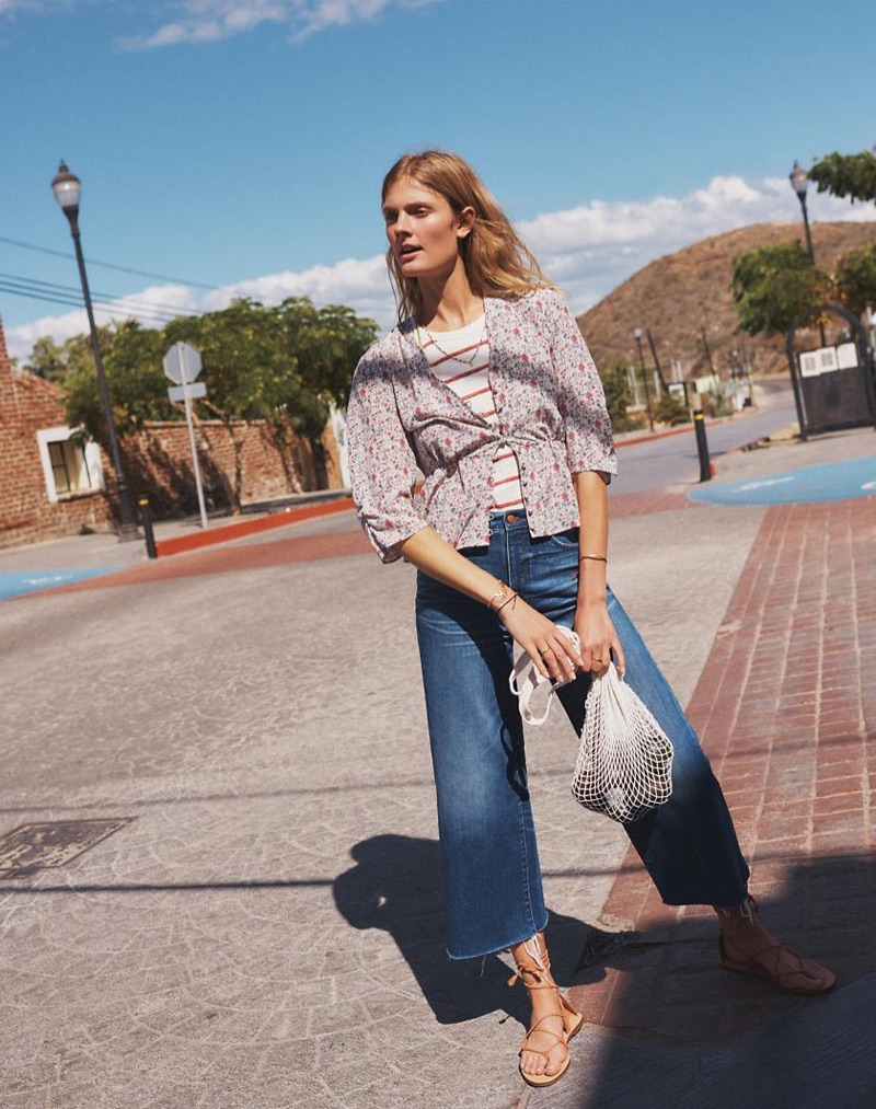 Madewell Silk Shadowpetal Top, Timeoff Tank Top in Shawn Stripe, Wide-Leg Crop Jeans in Frida Wash and The Boardwalk Lace-Up Sandal in Suede