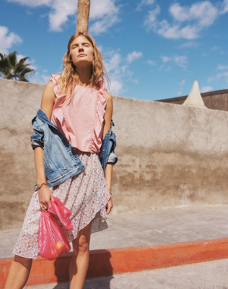 Madewell The Oversized Jean Jacket in Capstone Wash, Bellflower Ruffle Top and Ruffle-Wrap Midi Skirt in Shadowpetal