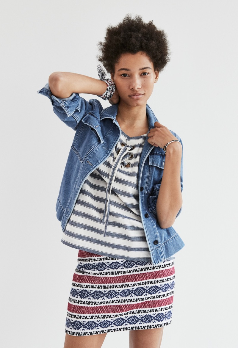 Madewell Northward Cropped Army Jacket in Denim, Striped Lace-Up Top and Jacquard Gamine Skirt