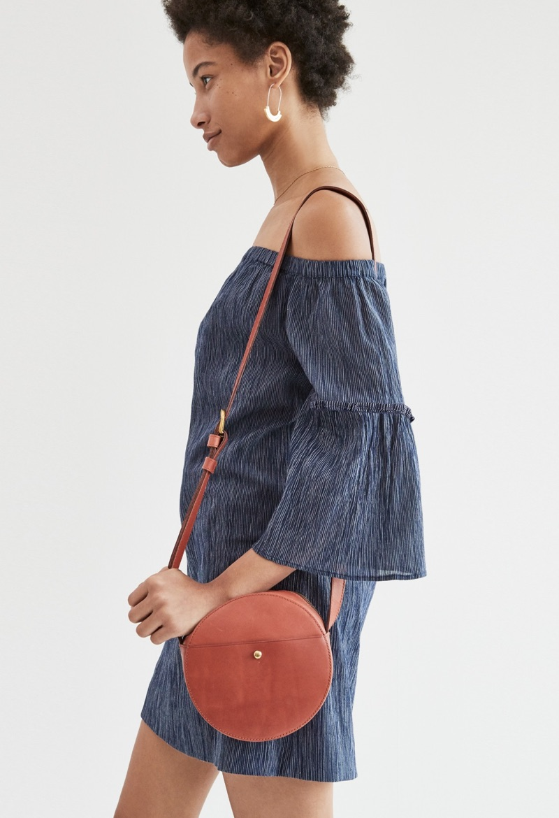 Madewell Off-the-Shoulder Bell-Sleeve Dress, The Marfa Circle Crossbody Bag and Spellbind Hoop Earrings