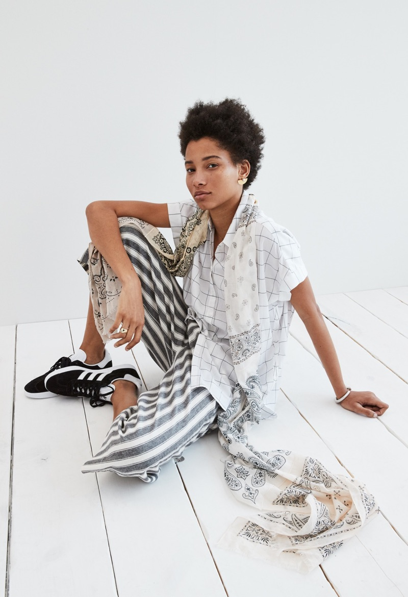 Madewell Patchwork Bandana Scarf, Central Shirt in Windowpane Plaid, Huston Pull-On Crop Pants in Stripe and adidas Unisex Gazelle Lace-Up Sneakers in Black