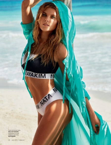 Maryna Linchuk models Walk of Shame cover up with Natayakim bikini top and bottoms