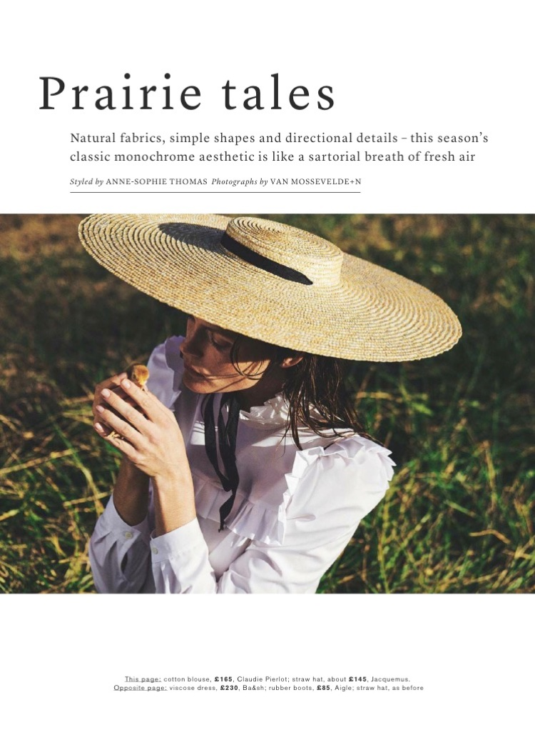 Mini Anden wears Claudie Pieriot cotton blouse and Jacquemus straw hat