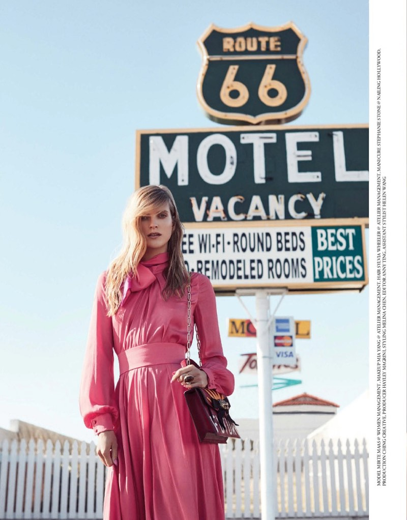 Mirte Maas wears pink Lanvin dress with embellished Gucci bag
