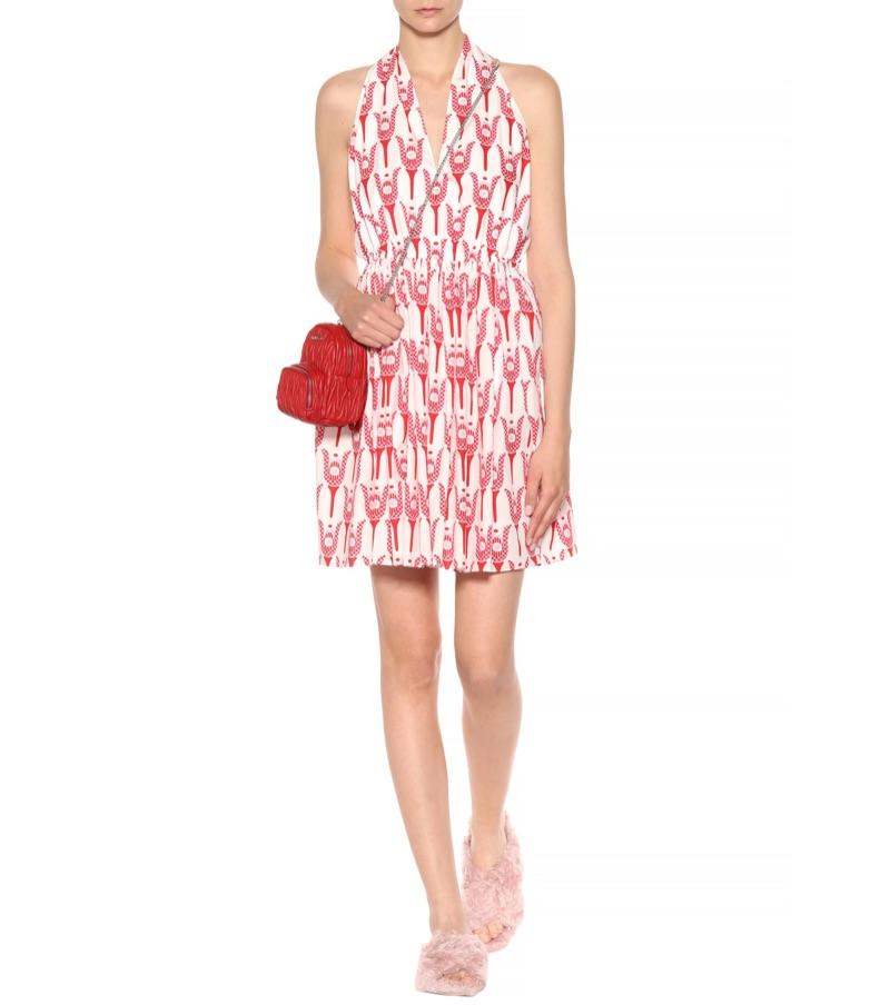 Miu Miu Printed Cotton Halter Dress $1,960