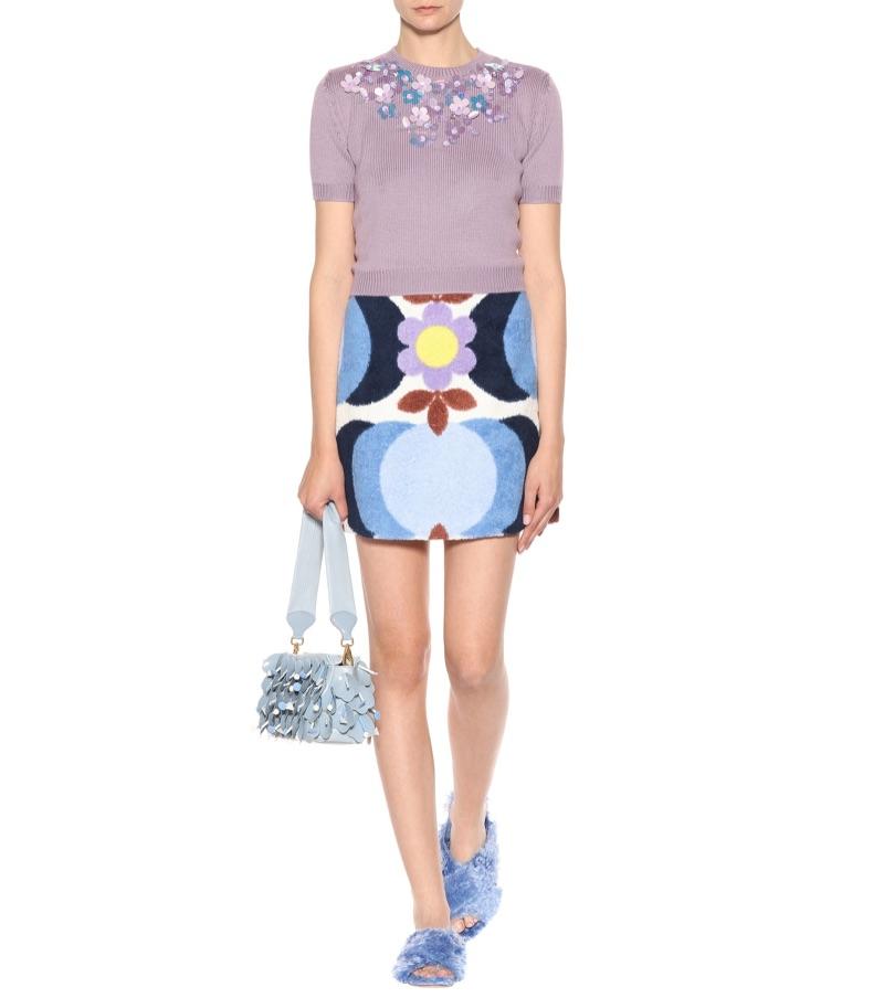 Miu Miu Printed Cotton-Terry Skirt $890