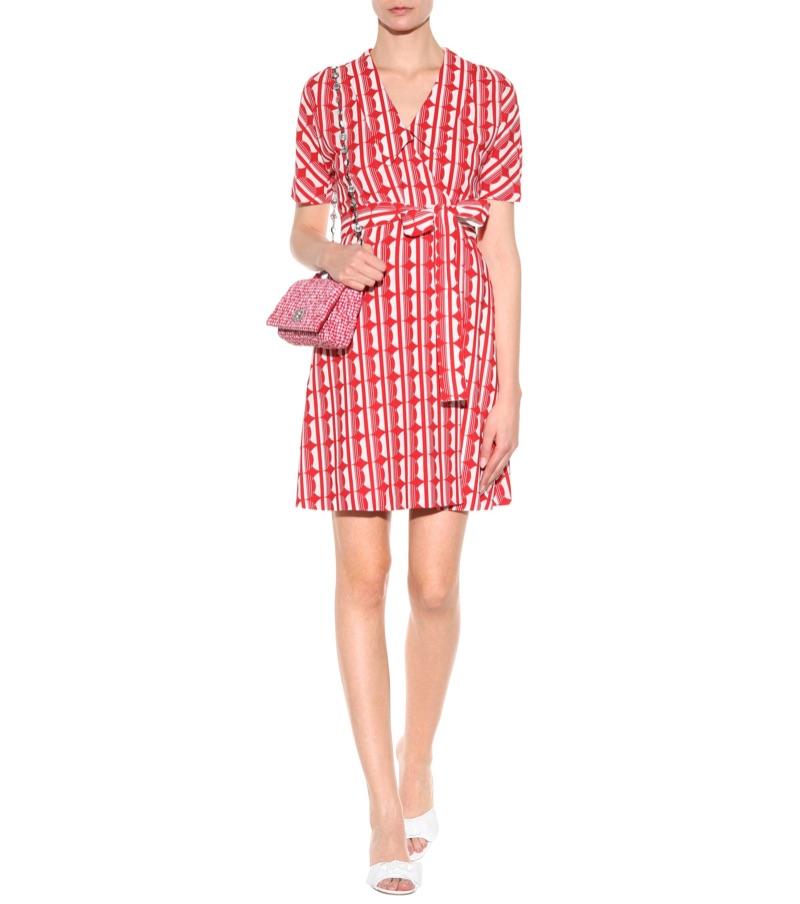Miu Miu Printed Crepe Wrap Dress $2,150