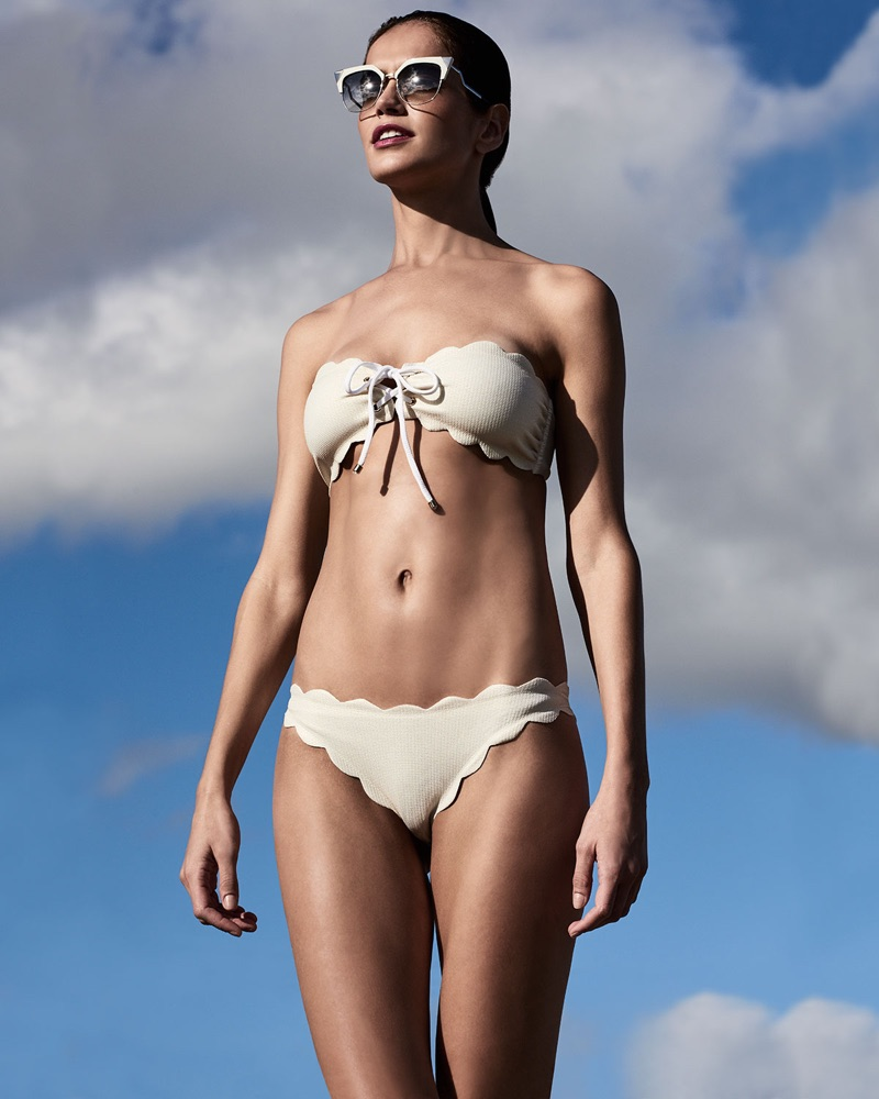 Marysia Antibes Lace-Up Scalloped Bandeau Swim Top and Antibes Scalloped Swim Bottom
