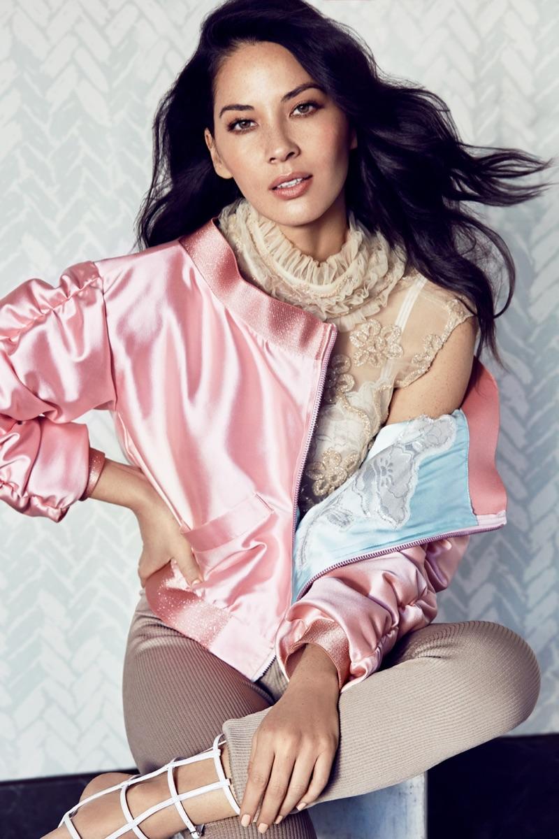 Olivia Munn wears Death by Dolls jacket, Fernando Alberto Atelier top, H&M pants and Christian Louboutin heels