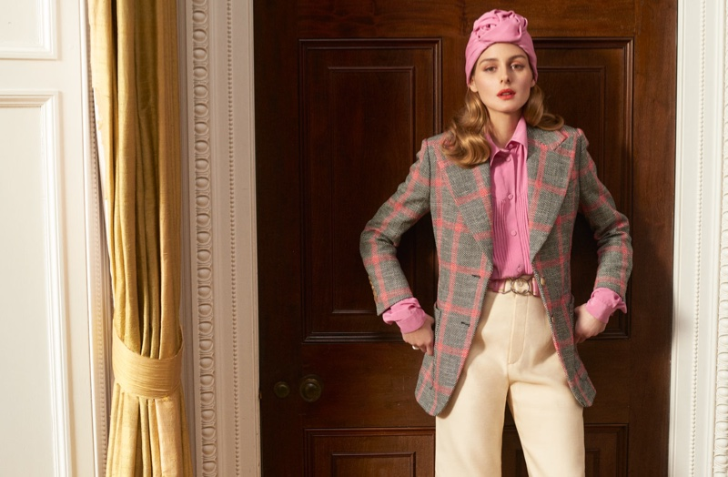 Style star Olivia Palermo poses in Gucci blazer, shirt, pants and turban