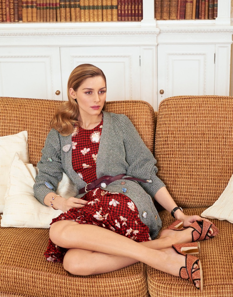 Lounging in style, Olivia Palermo poses in Christopher Kane cardigan, Simone Rocha dress and Rupert Sanderson mules