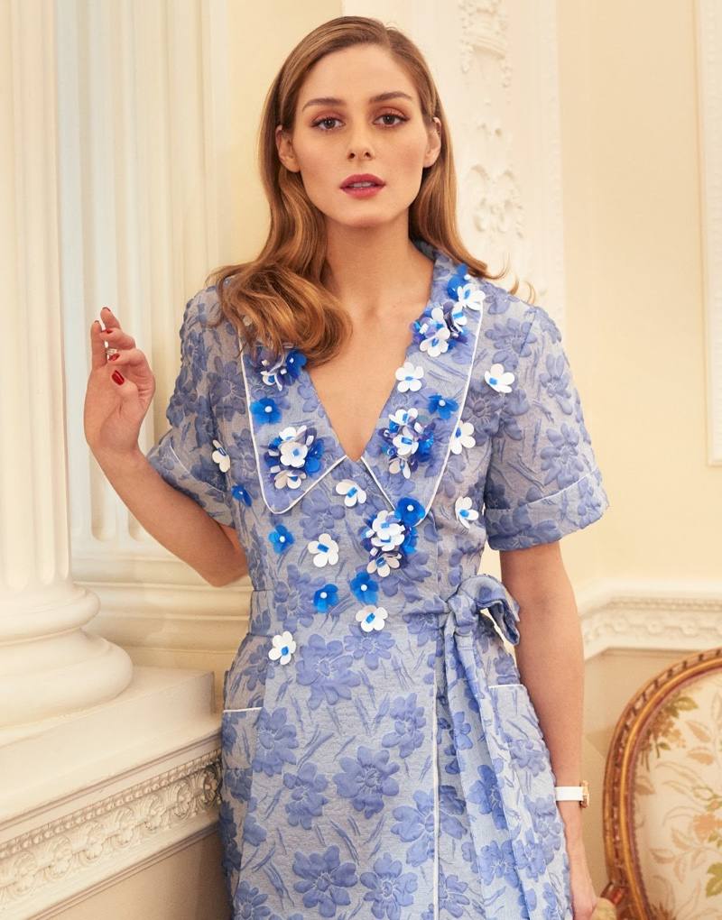 Olivia Palermo models blue Miu Miu dress with floral print and embellishments