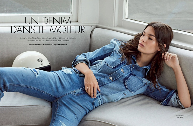 Lounging in denim, Ophelie Guillermand wears FRAME shirt and Liu-Jo jeans
