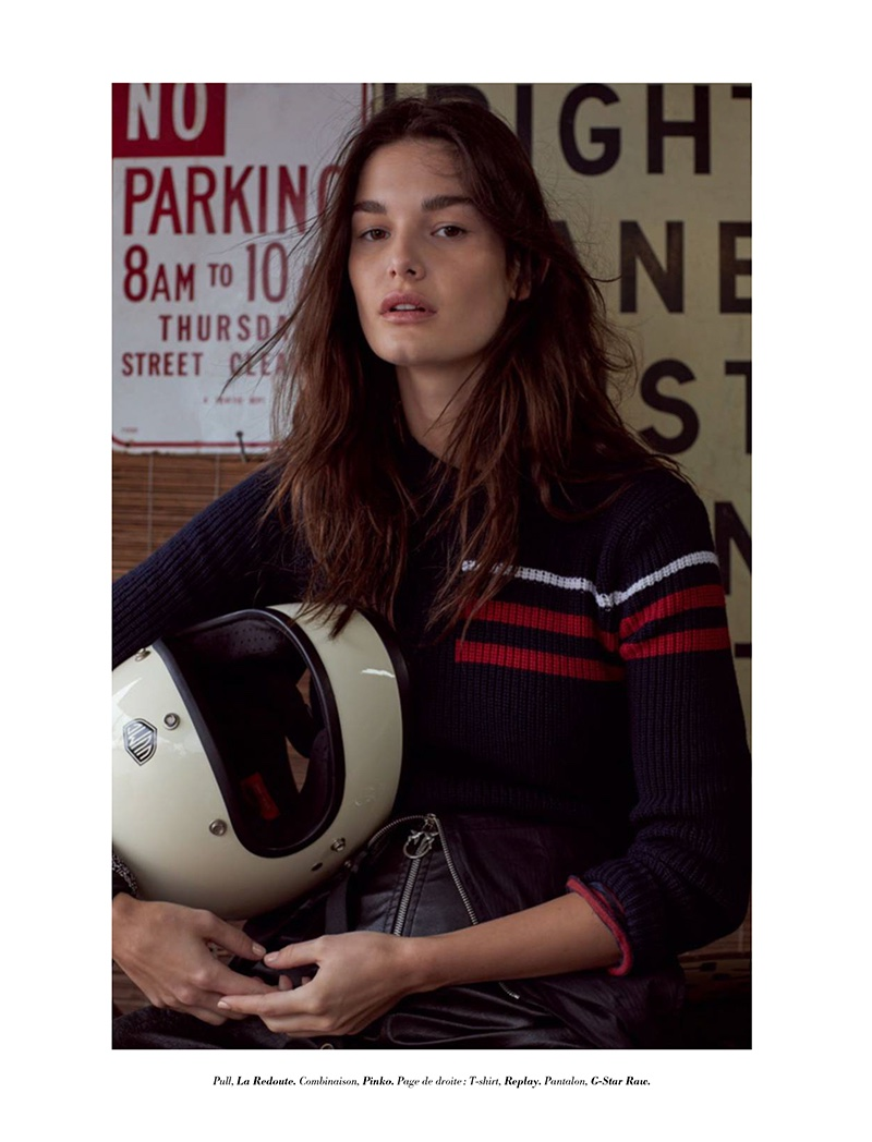 Ophelie Guillermand models La Redoute sweater and Pinko bottoms