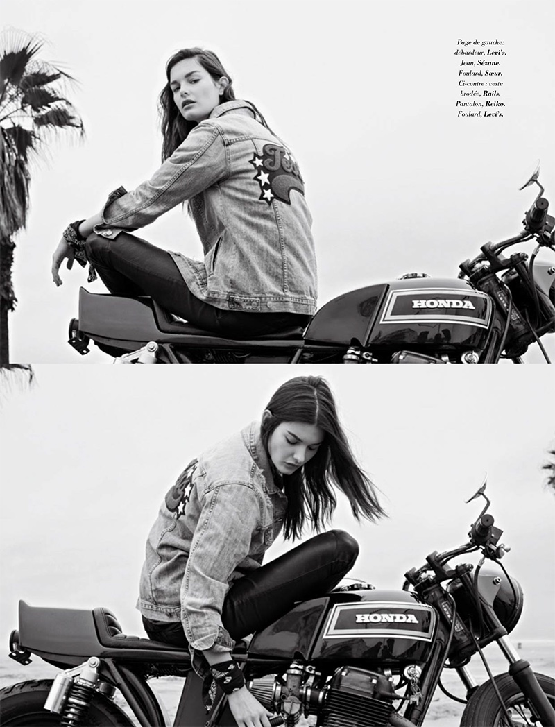 Ophelie Guillermand models embroidered denim jacket from Rails, Reiko pants and Levi's bandana