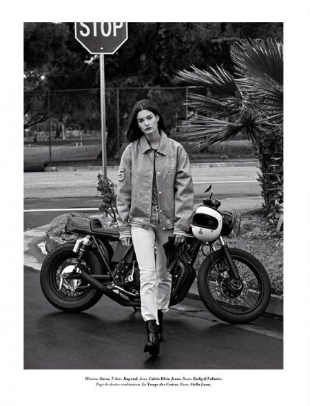 Ophelie Guillermand Looks Biker Cool in Glamour France