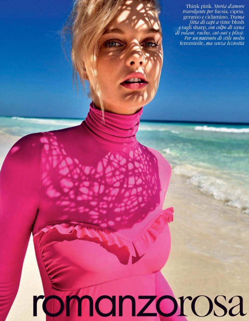 Model Patricia van der Vliet poses in pink styles for the fashion editorial