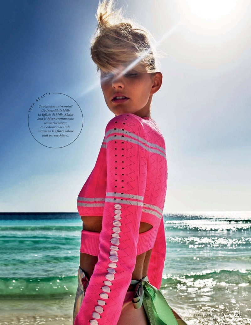 Soaking up the sun, Patricia van der Vliet poses in Fendi cropped sweater