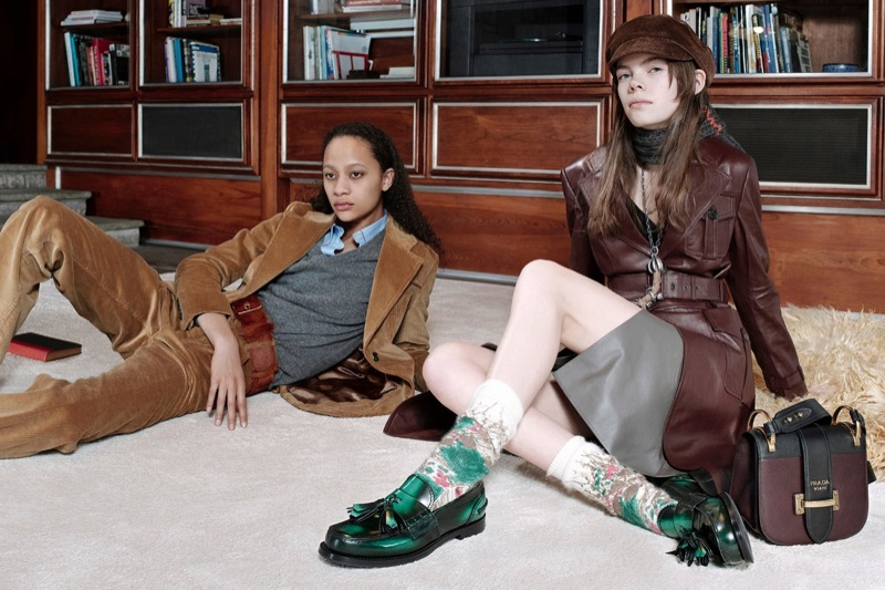 Selena Forrest and Nina Gulien appear in Prada's pre-fall 2017 campaign