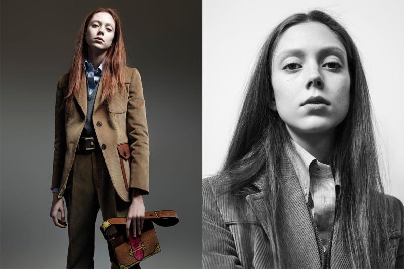 Natalie Westling wears corduroy jacket in Prada's pre-fall 2017 campaign