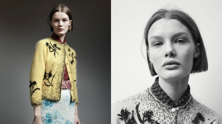 Kris Grikaite wears fuzzy cardigan sweater in Prada's pre-fall 2017 campaign