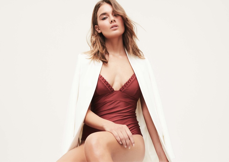 REISS Rox Jacket $475 and Ferreira Triangle Top Swimsuit $145